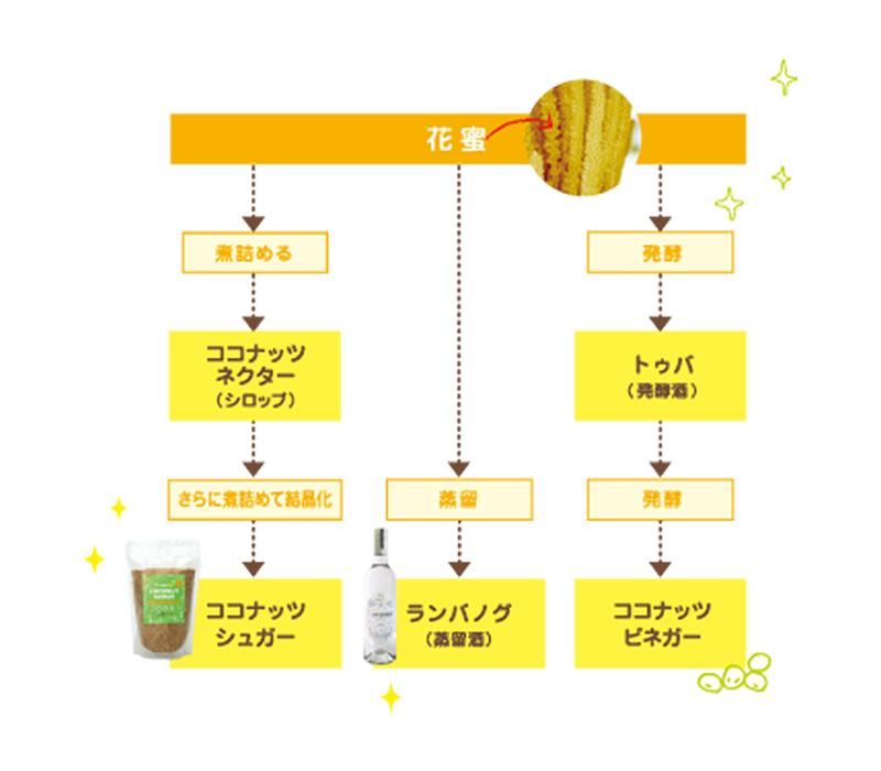 花蜜からできるココナッツ製品